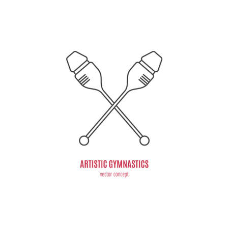 gymnastics equipment: Modern logo concept with a clubs - part of rhythmic gymnastics equipment. Vector line style logotype template. Isolated and easy to edit business identity element.