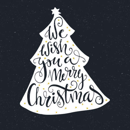 merry: We Wish you a merry christmas - quote in a christmas tree. Unique handdrawn typography poster. Vector art. Great design element for congratulation cards, banners and flyers.