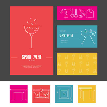 exersice: Business identity vector set with different artistic gymnastics elements including pommel, balance beam, floor. Business card and letterhead. Sports vector.