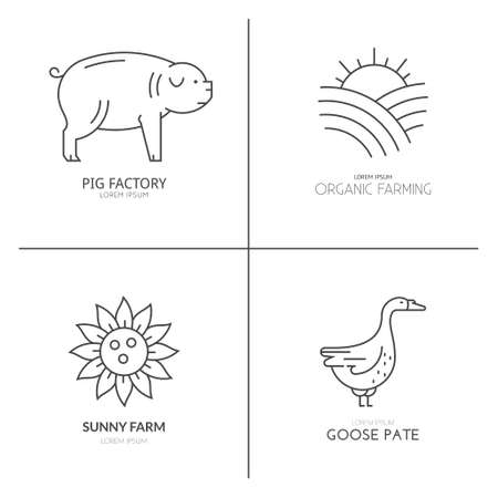 business products: Farm animals logo collection. Great linear emblem for farming business. Modern business identity for bio products and agricultural industry.