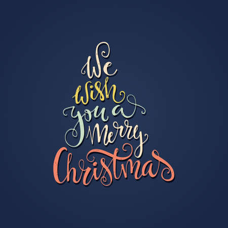 christmas card template: We wish you a merry Christmas - quote in a shape of a christmas tree.- unique handdrawn typography poster.  Great vector design element for congratulation cards, banners and flyers.