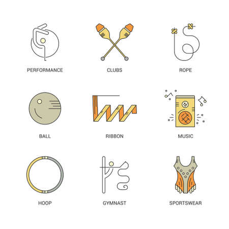 gymnastics equipment: Professional sport line vector collection - rhythmic gymnastics equipment with names. Unique and modern set isolated on background.  Summer sport collection. Illustration
