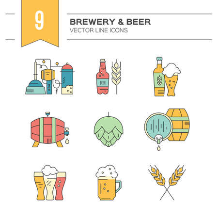 wood craft: Octoberfest series: modern line vector collection of beer icons - beer mugs, beer bottles, barrels and brewing process. Unique and modern set isolated on background.