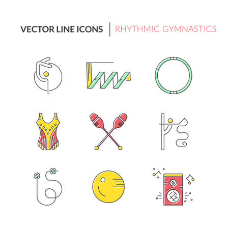 rhythmic gymnastic: Collection of line modern vector symbols of rhythmic gymnastics, including ribbon, ball, clubs. Sport vector. Great set of line style symbols. Illustration