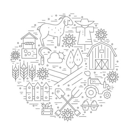 seeding: Perfect linear style vector agricultural template. Farming flyers and banners. Eco products series. Illustration