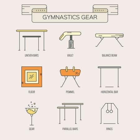 gimnasia: Gimnasia iconos y s�mbolos art�sticos Colecci�n moderna y �nica en estilo vector lineal moderna. Atleta o gimnasta icono de la colecci�n. Conjunto �nico y moderno aislado en el fondo.