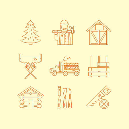woodwork: Line style vector set of lumberjack symbols, timber industry and woodwork. Unique and modern set of symbols isolated on background. Illustration