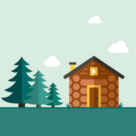 log on: Easy to edit vector template for woodwork industry with modern log house.