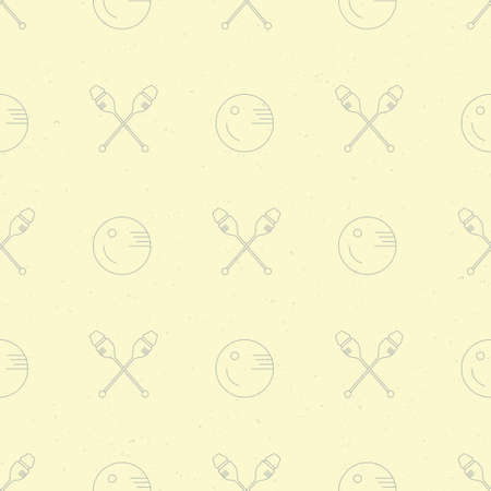 gymnastics equipment: Vintage seamless pattern with different rhytmic gymnastics equipment. Great texture for web sites, invitations, announcements and competition background made in vector. Sports vector series. Illustration