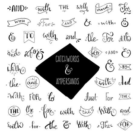catchword: Unique giant collection of real ink ampersands and catchwords. Great vector design set for wedding invitations, save the date cards and other stationary.