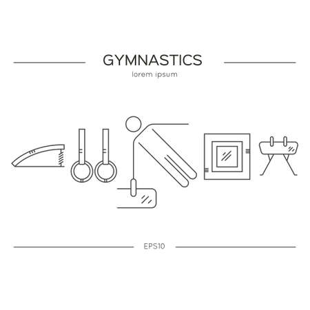 exersice: Artistic gymnastics concept made in modern linear vector style. Flyer and banner collection. Sport and fitness vector.