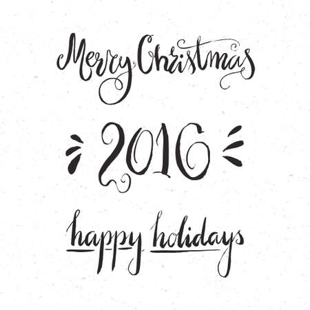 text word: Hand drawn Christmas vector typography elements on white background. Perfect holiday congratulation card design element. New Year and Xmas design. Illustration