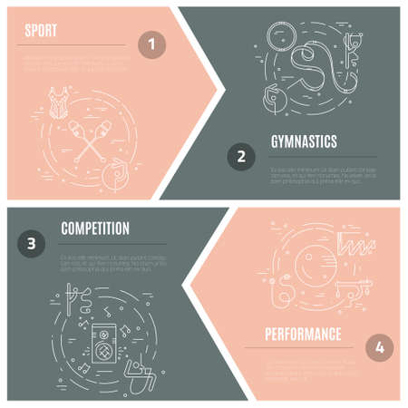 exersice: Thin line vector concept with rhythmic gymnastics equipment and elements. Perfect illustration for banner or flyer set. Sport and fitness vector.