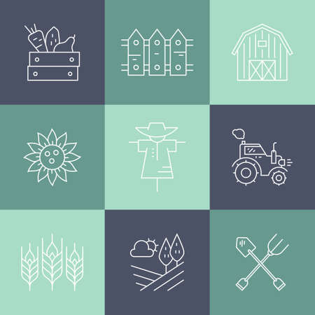 agriculture icon: Agricultural icons with different farming and eco product harvesting design elements. Perfect clean vector.
