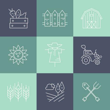 agricultura: Iconos agrícolas con diferentes agrícola y elementos de diseño de cosecha de productos ecológicos. Perfecto vector limpio.