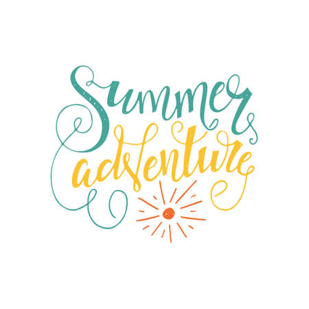 Summer Adventure - perfect handdrawn lettering. Vector art. Unique design element for housewarming poster or banner.