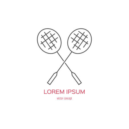summer game: Vector line style logo template with badminton or tennis rackets. Sportsclub or championship symbol. Summer game emblem.