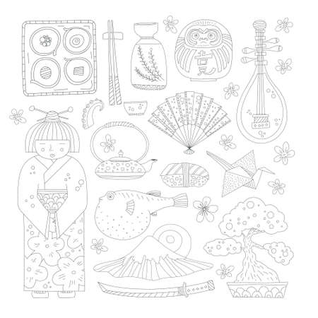 japanese culture: Collection of handdrawn japanese symbols made in vector. Design elements for travel website or invitation card. Isolated japanese culture elements including geisha, sakura, teapot, fugu, mountain fuji.