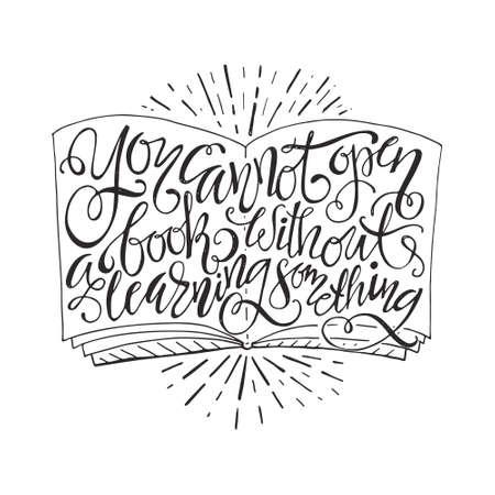 libro abierto: No puede abrir un libro sin tener que aprender el cartel de la tipografía algo- único. Arte del vector. Elemento de diseño para el cartel de inauguración o banner. Vectores