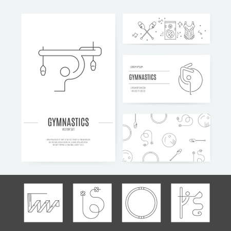 exersice: Modern and unique rhythmic gymnastics business identity concept  made in modern linear vector style. Easy to use and edit business stationery set including business card, corporate letterhead and flyer template.