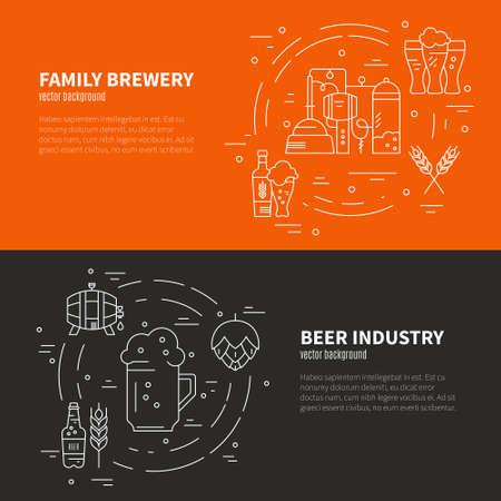 vasos de cerveza: diseño de la línea de arte moderno, con diferentes símbolos de cerveza y cervecería. Arte del vector. Flyer y colección de pancartas. Octoberfest serie.