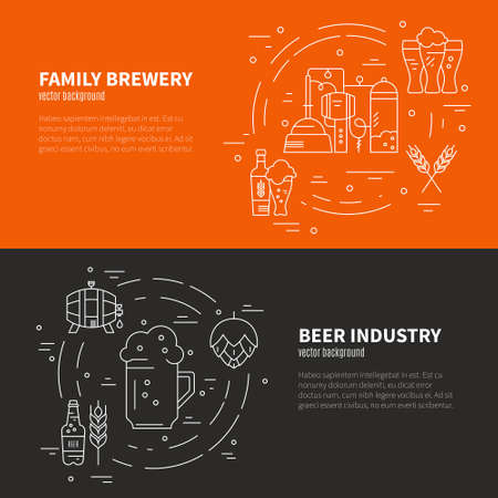 wood craft: Modern line art design with different beer and brewery symbols. Vector art. Flyer and banner collection. Octoberfest series.