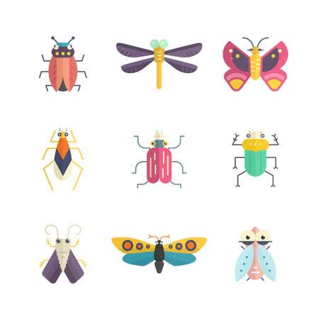 mariposa caricatura: Vector colección de insectos hechas en estilo moderno apartamento. Bichos de colores para su diseño. Elementos de la naturaleza hechas en vector.