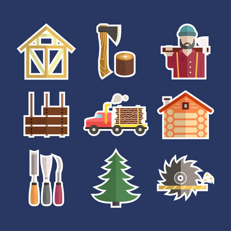 log on: Vector set of lumberjack symbols. Timber industry and woodwork icons. Unique and modern set isolated on background. Illustration
