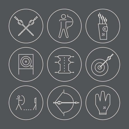 indian professional: Archery vector icons and objects collection. Sport pictogramms made in modern linear style. Bows, arrows and other professional archery gear. Professional sport elements for web sites, applications.