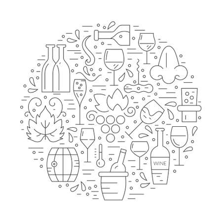 Black and whie linear style wine design elements in circle shape - corckscrew, bottles, glasses, wine splashes. Vineyard vector.