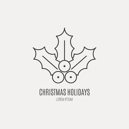 ilex: Unique modern logotype with chritmas holly or Ilex aquifolium made in modern line style vector. Easy to use business template. Christmas series.