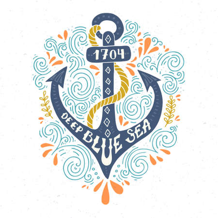 and marine life: Colorful marine design with anchor and hand lettering elements.  Unique t-shirt or bag design, house warming poster, greeting card illustration.  Vector lettering series.