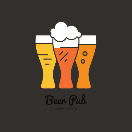 craftsperson: Line style logotype template with beer mugs with different types of beer for pub or brewing company. Easy to use business template.