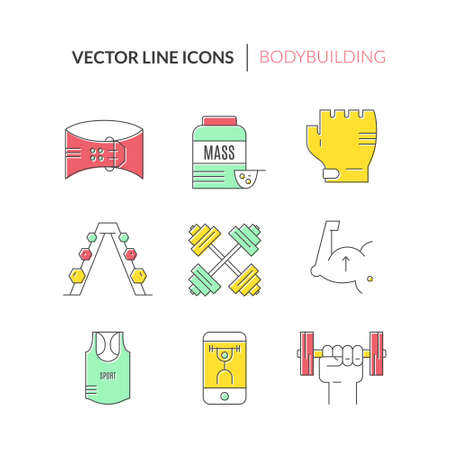 collection series: Gym training, bodybuilding and active lifestyle icon collection. Vector lone series. Fitness elements. Unique and modern set isolated on background. Illustration