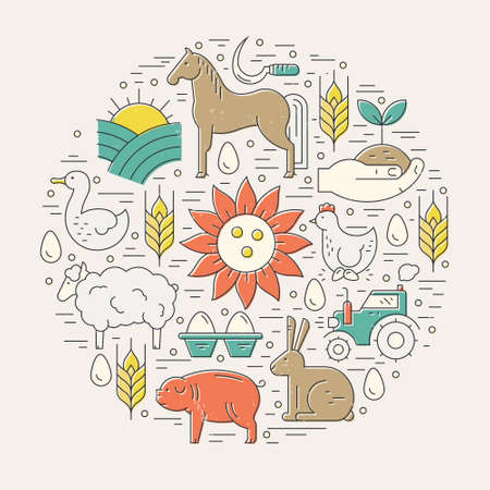 Collection of farming illustrations with different agricultural symbols. Perfect organic products banner or flyer with horse, tractor, field, wheat. Illustration