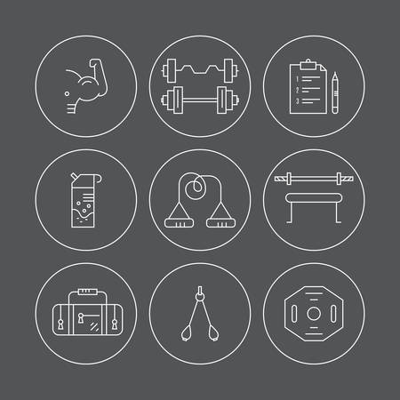 pictogramm: Collection of vector line style icons of weightloss, active lifestyle and gym training. Fitness and active lifestyle symbols. Line icon collection.