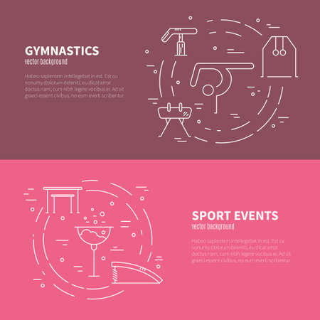 exersice: Artistic gymnastics concept made in modern linear vector style. Great graphic for announcement, advertisement, flyer or banner. Sports and fitness vector series.