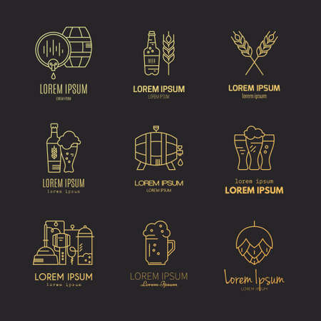 artisan: Set of beer logotypes - beer mugs, beer bottles, barrels and brewing process. Modern logo collection for all kinds of beer design. Octoberfest icon series. Clean and modern line style vector art. Illustration