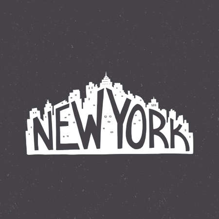 New York Vintage Hand Drawn Lettering Poster. Vector Typography Concept. T Shirt  Design