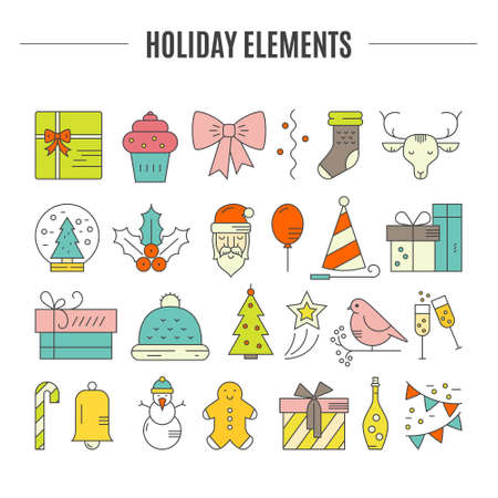 pictogramm: Big collection of Christmas icons. Colored Christmas symbols including snowman, Santa Claus, presents, Christmas tree. Vector icons.