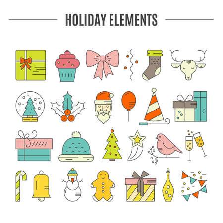 Gran Colección De Iconos De La Navidad. Símbolos De Color De Navidad ...