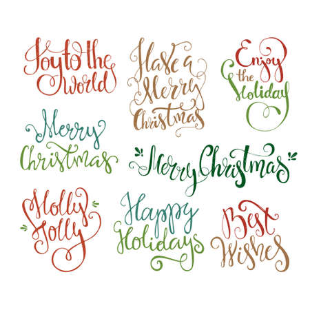 joy: Big bundle of handdrawn Christmas lettering. Unique typography for congratulation cards and invitations. Isolated on white background. Illustration