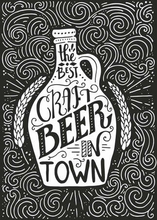draft beer: Handpainted illustration of vintage beer bottle and brewery lettering - great vintage pocter with real texture. Great for pub menu, announcement of the beer festival or brewery poster.