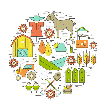 agriculture: Vector concept with different agricultural symbols. Farming flyers and banners. Eco products series. Illustration