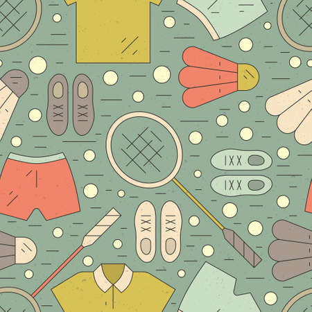 badminton: Vintage seamless pattern with badminton rackets and sportswear including sneakers, shorts and t-shirt. Summer sport texture.