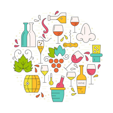 Wine design elements in circle shape - corckscrew, bottles, glasses, wine splashes. Perfect winedesign element for flyer, banner or advertising campaign. Illustration