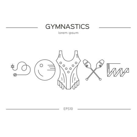 exersice: Rhythmic gymnastics concept made in modern linear vector style. Perfect illustration for banner or flyer. Sport and fitness vector.