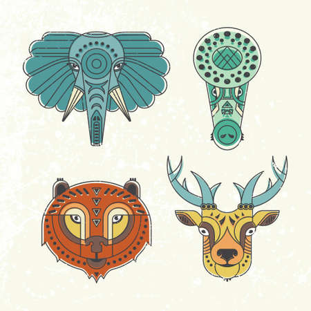 animal heads: Animal portraits made in unique geometrical flat style. Vector heads of cute animals. Isolated icons for your design. Illustration