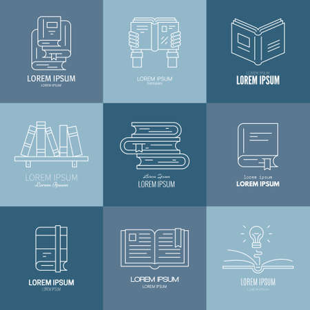 literatures: Collection of vector logotypes with different books - textbook, academic literature, lightbulb in the book, bookshelf. University or tutorial logo.