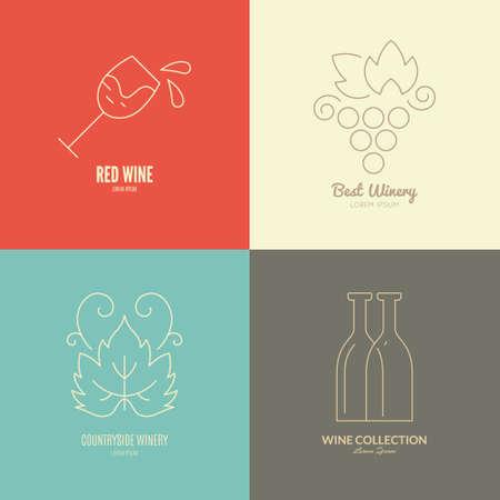 vines: Wine logos and badges made in vector. Perfect vineyard or bar emblem. Line logo.